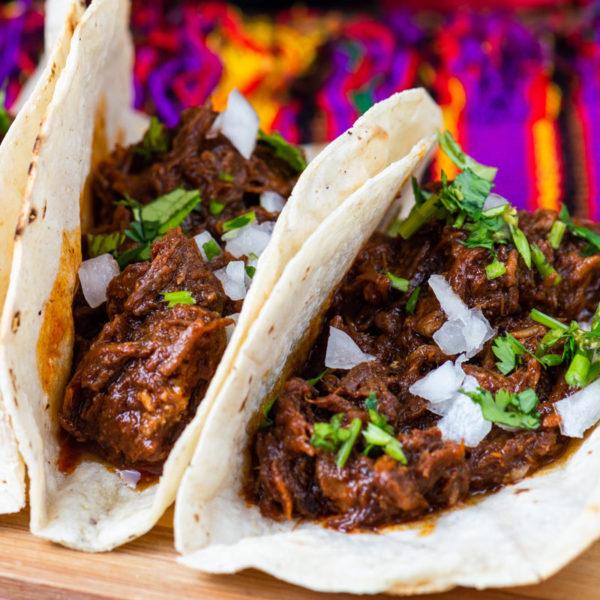 Beef barbocoa tacos
